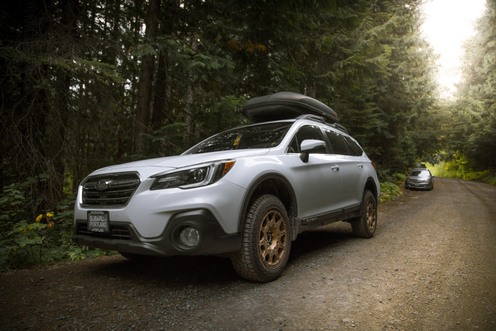 Lifted Subaru Outback with All terrain tires