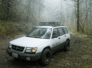 Subaru Forester lifted with bassett racing wheels and Toyo open country tires