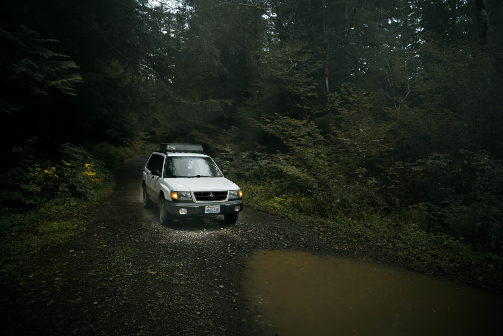 Subaru Forester with a lift kit and all terrain tires for overlanding