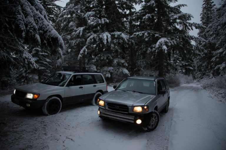 2 subaru foresters on an overlanding trip in the forest