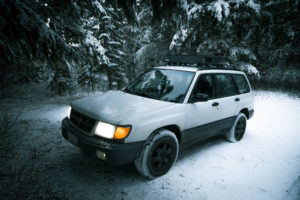 Subaru Forester with a lift kit and aggressive all terrain tires