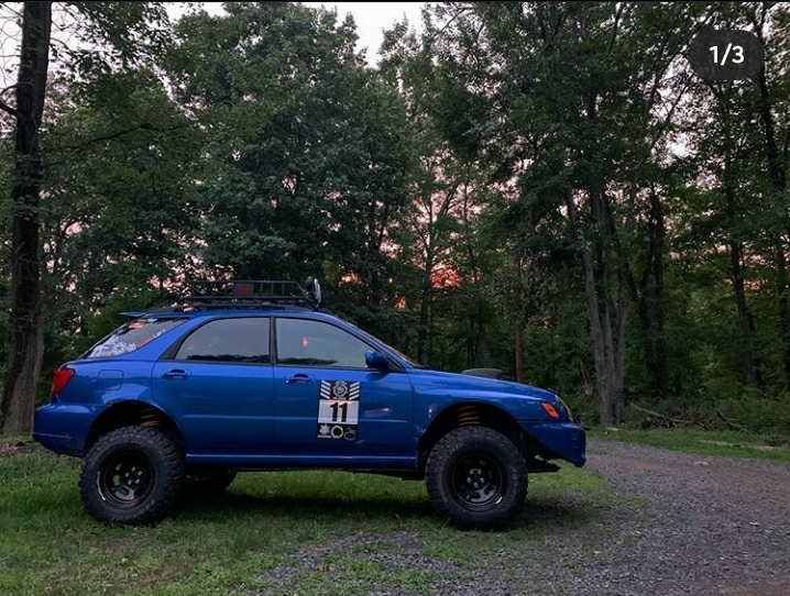 6 inch lifted subaru wrx on mud tires and off road suspension
