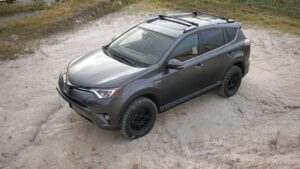 lifted toyota rav4 with off road tires and lift kit